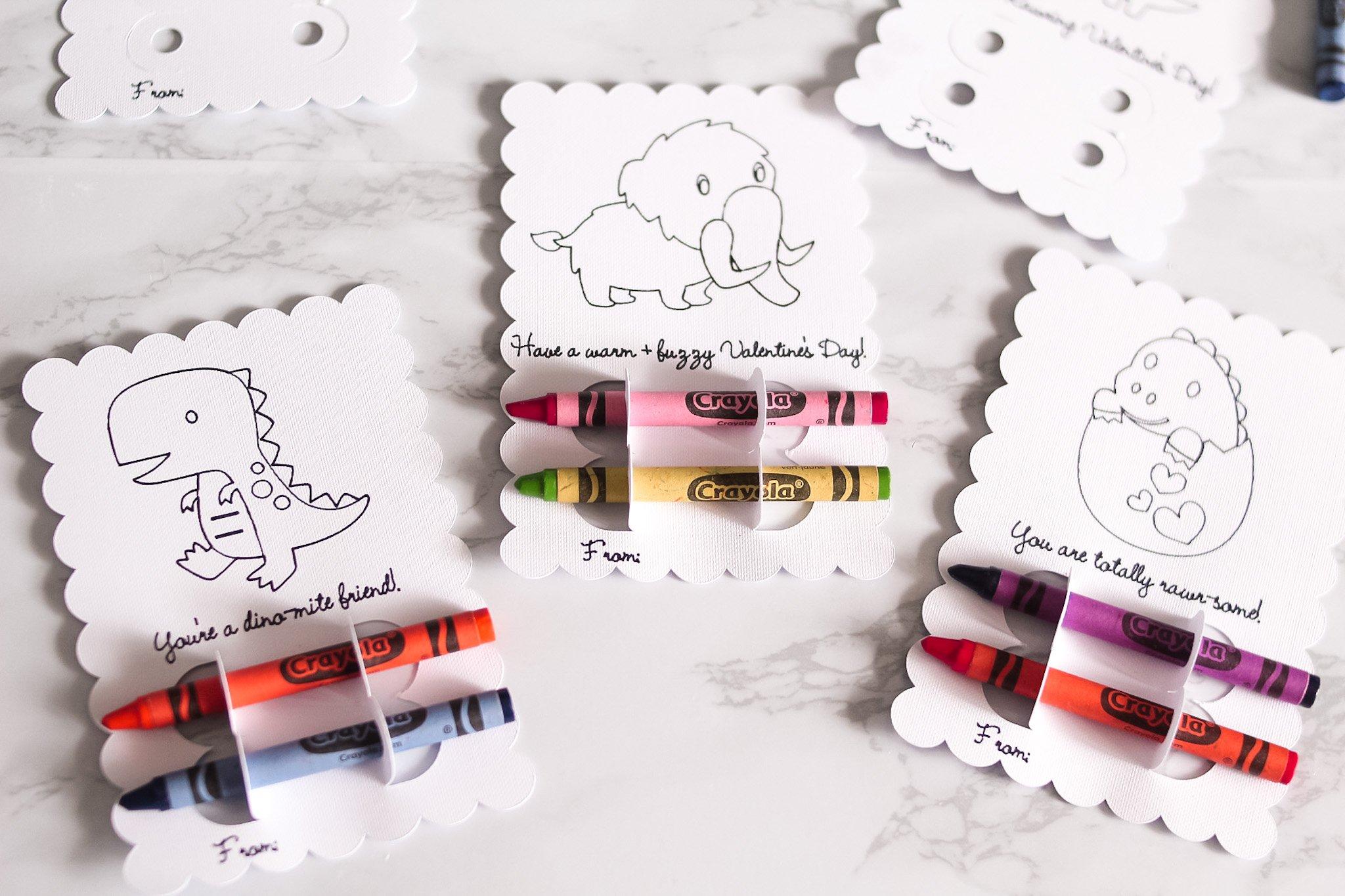 blank dinosaur crayon cards