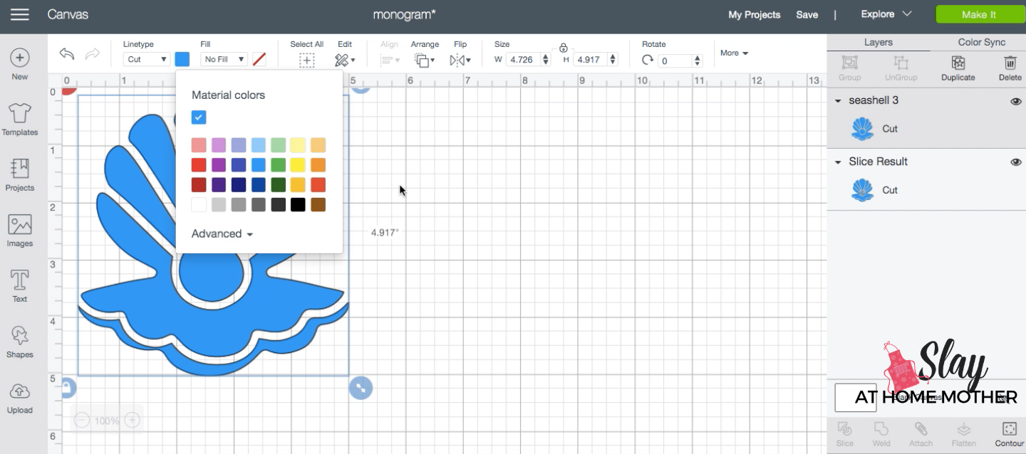 changing color of image in design space