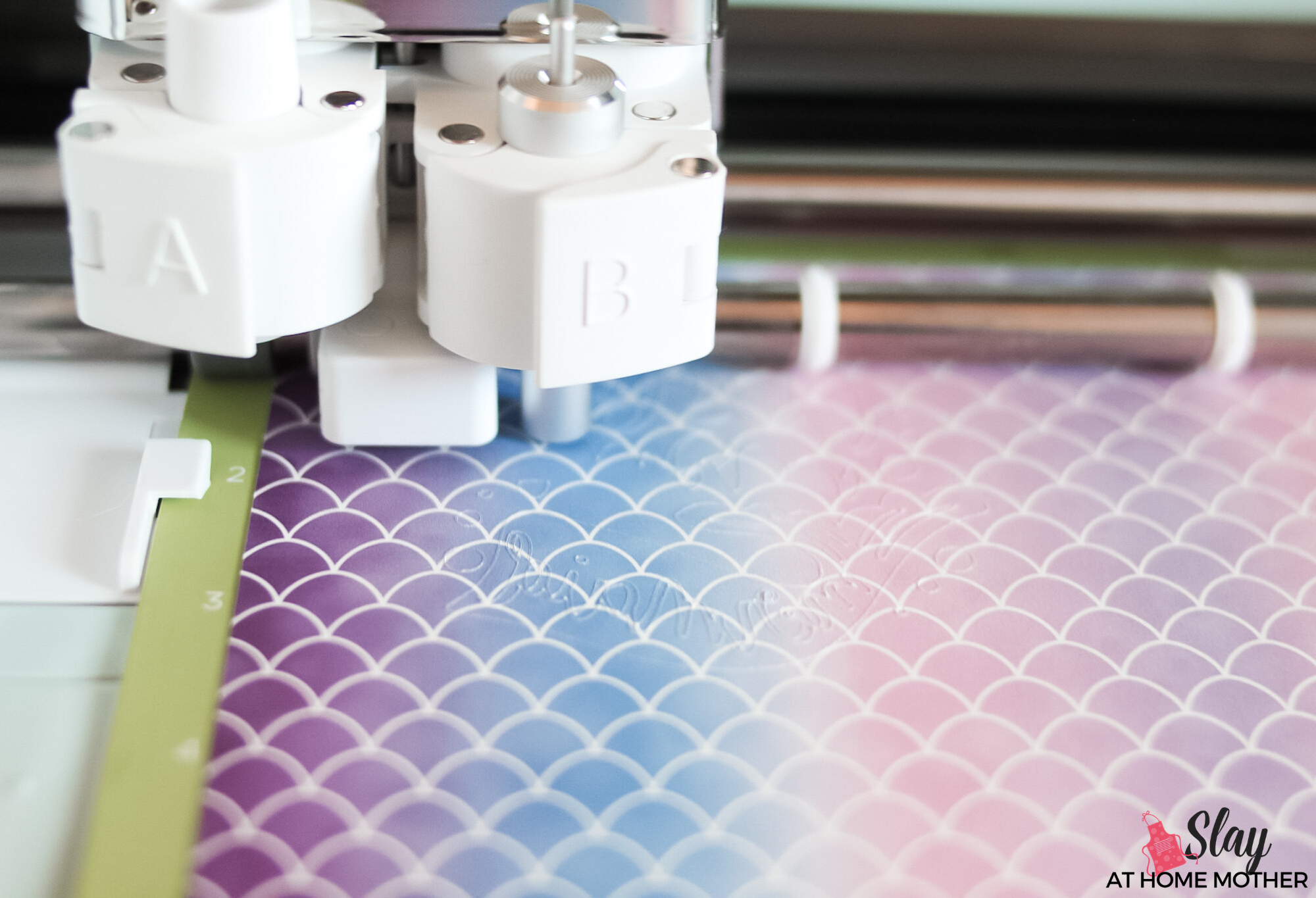 closeup cutting infusible ink transfer sheets with fine point blade