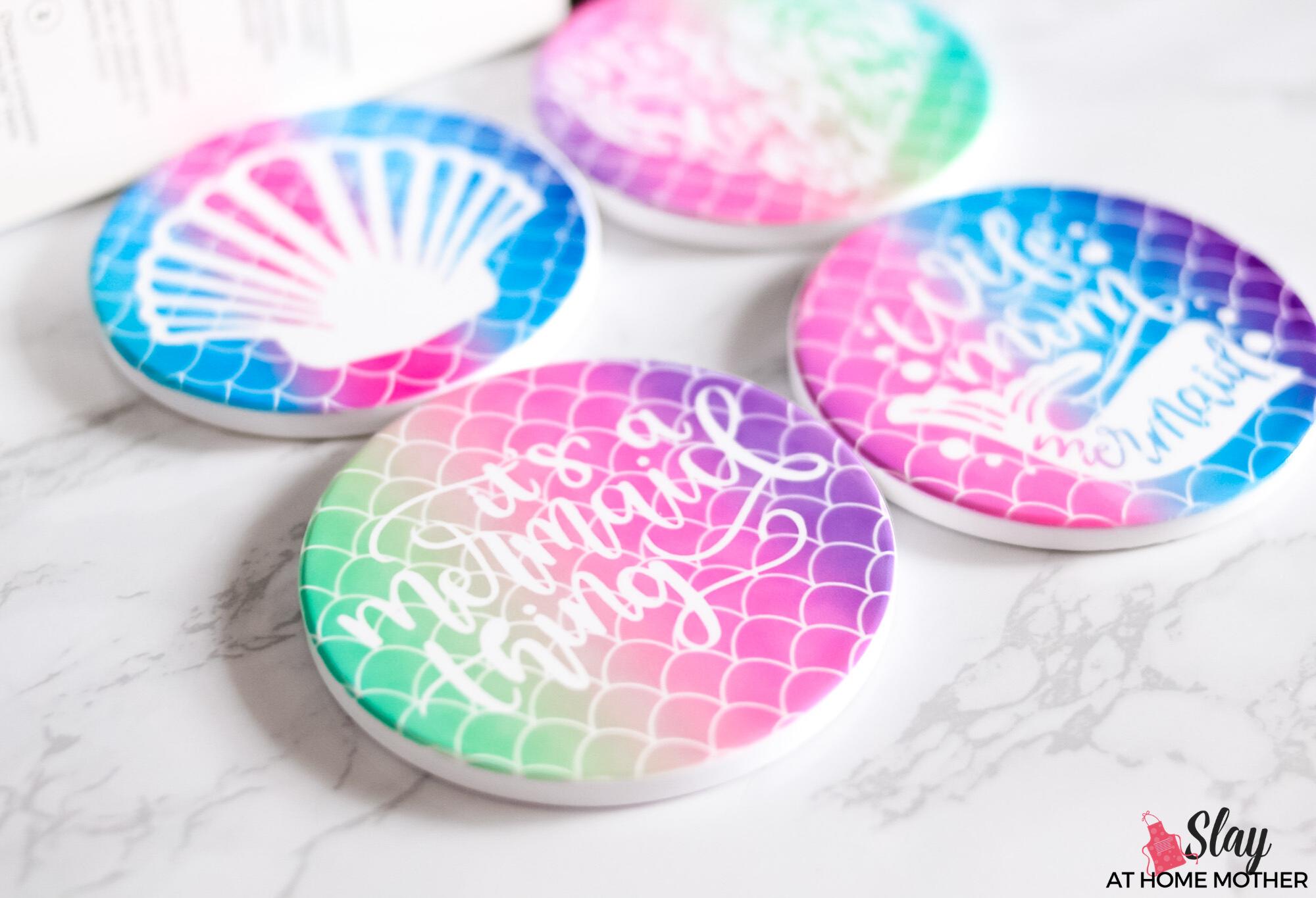 closeup of cricut mermaid coasters