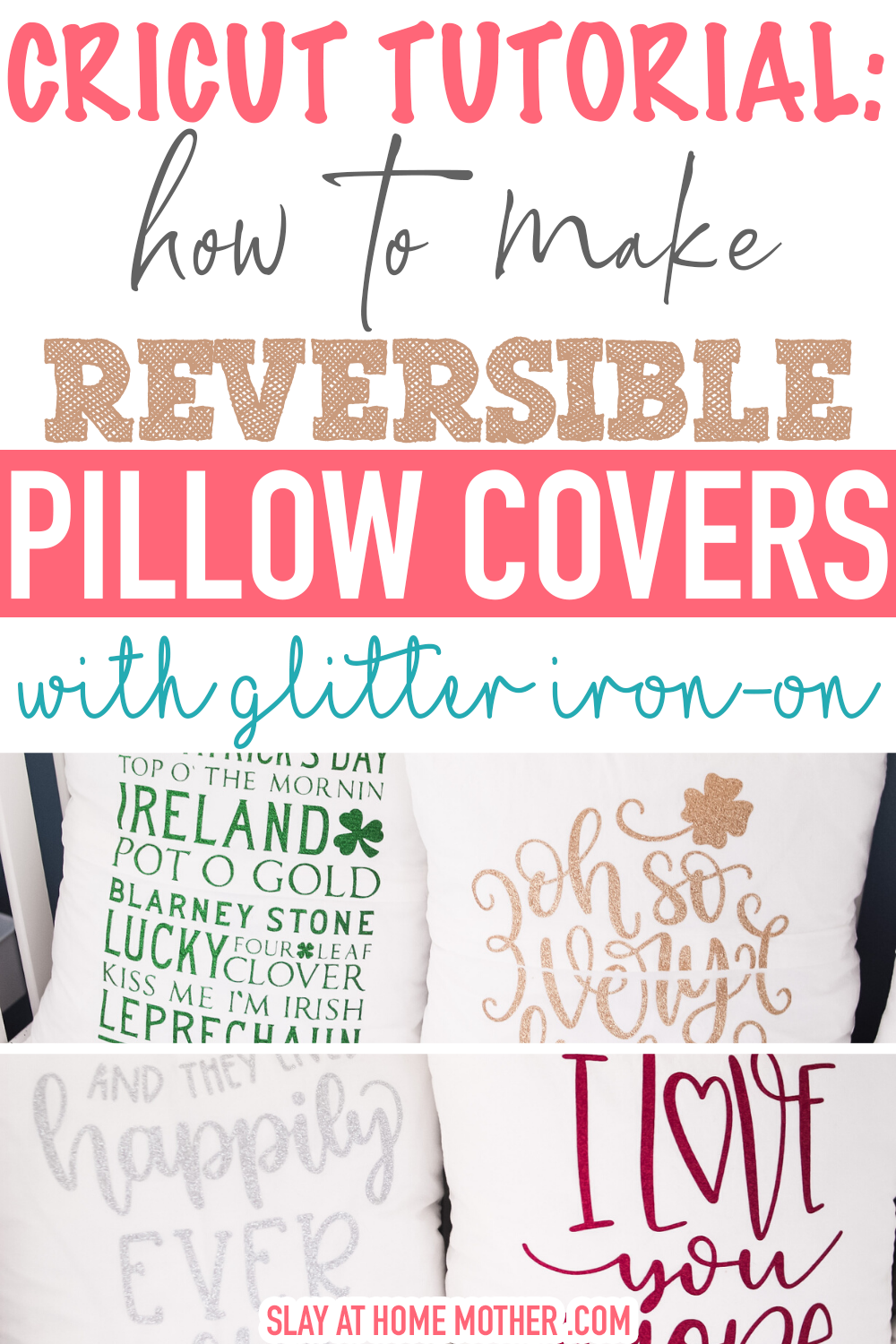 How To Work With Cricut Glitter Iron-On cricut glitter iron on - reversible pillow covers project