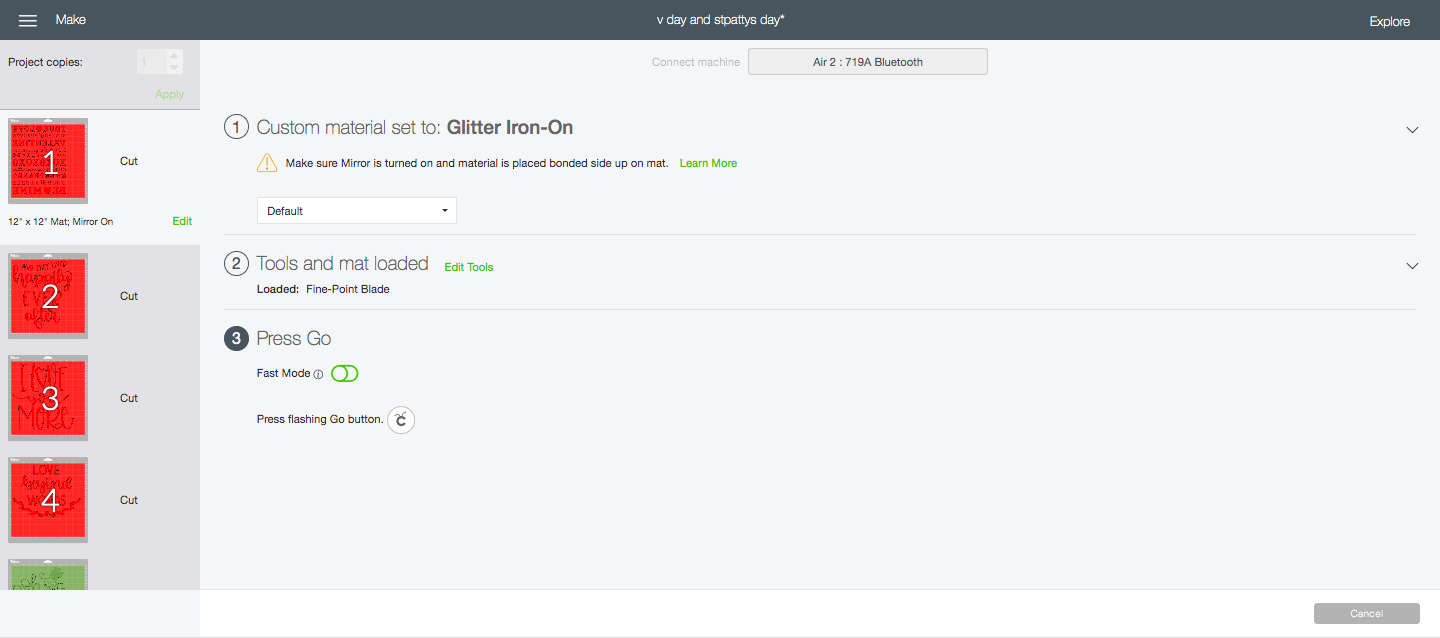 cut settings in design space for glitter iron on