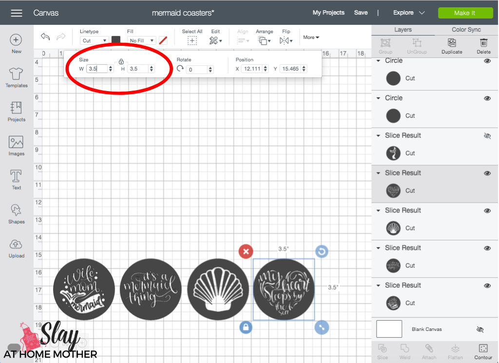 design space screenshot of sizing round infusible ink coasters