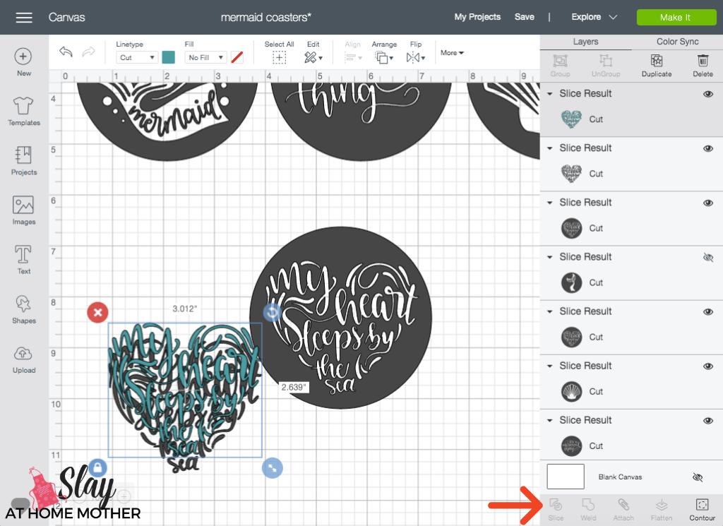 design space screenshot of slicing an image