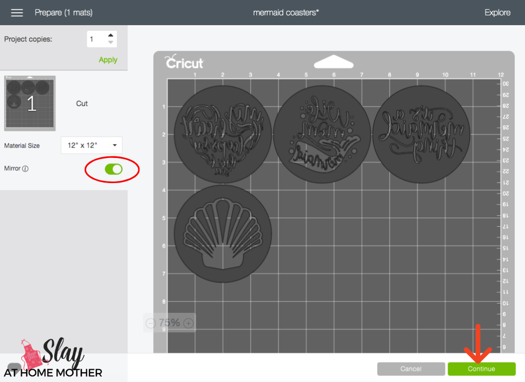 design space screenshot showing how to mirror images before cutting