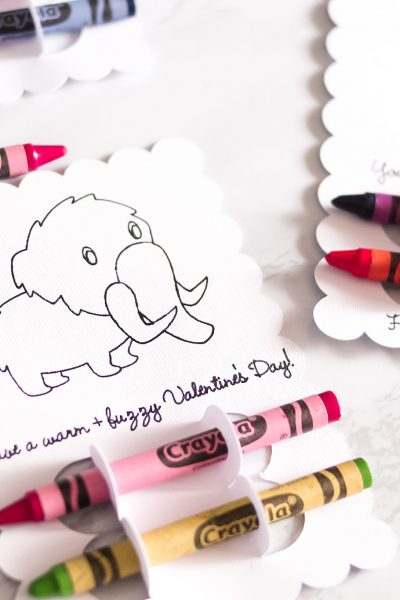 dino-mite crayon cards for valentine's day with crayons