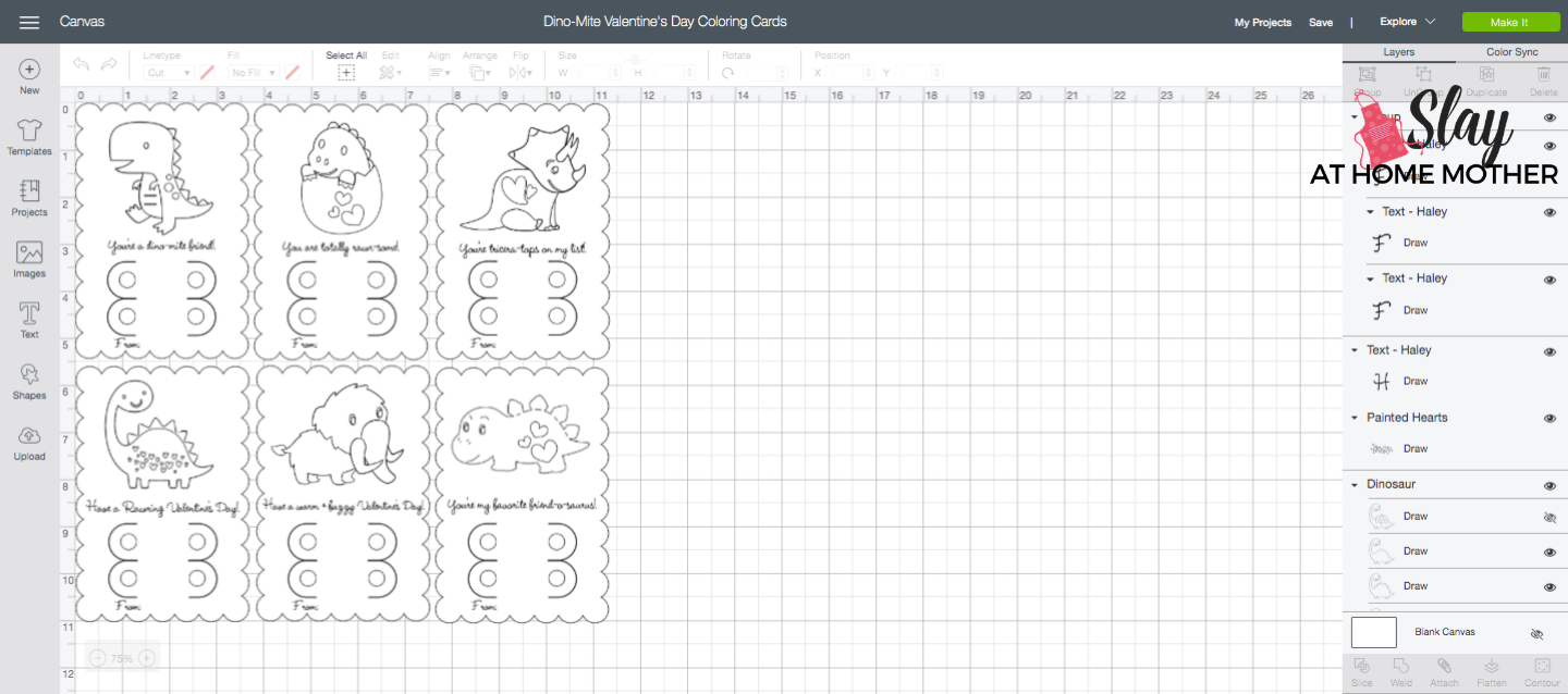 screenshot of dino-mite valentine's day coloring cards cricut design space mat