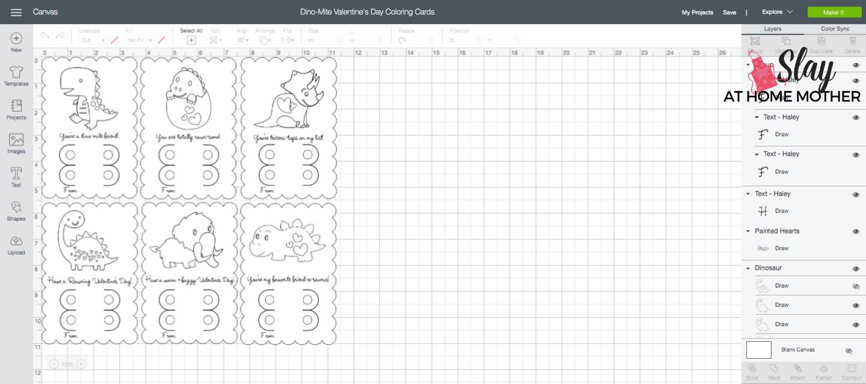 screenshot of dino-mite valentine's day coloring cards cricut design space mat