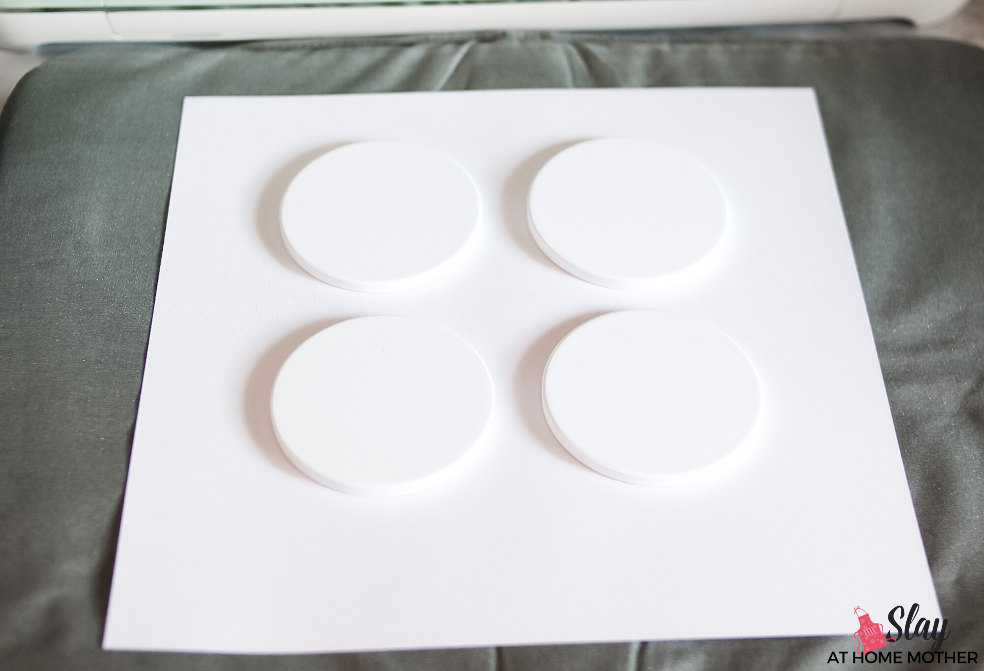 easypress mat and cardstock ready for infusible ink coasters