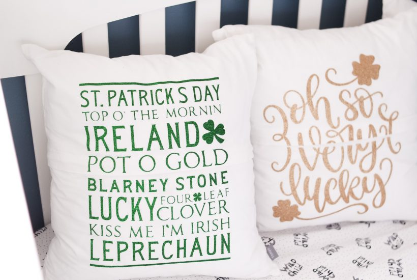 finished pillows st. patty's day side