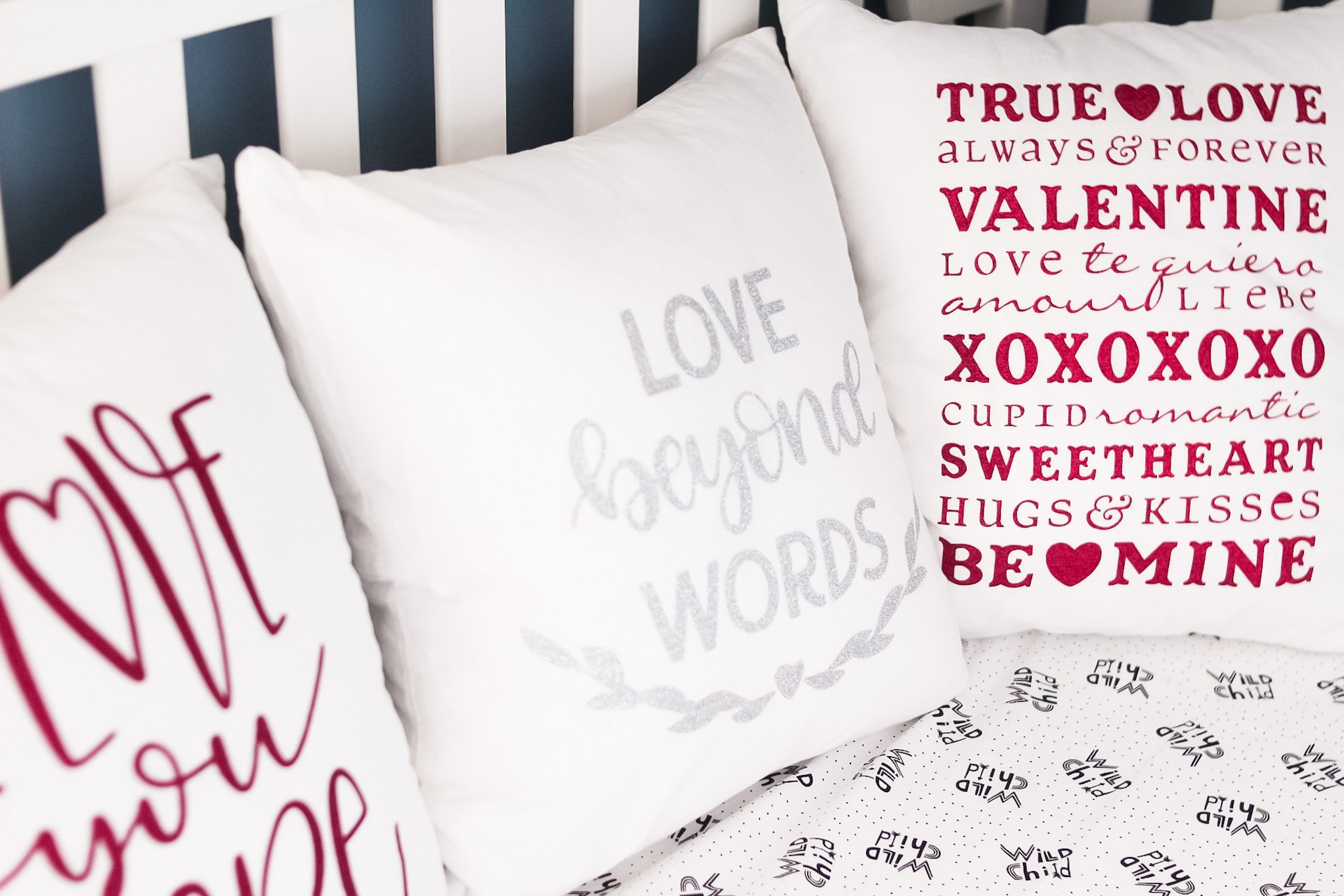 finished valentines day pillow covers