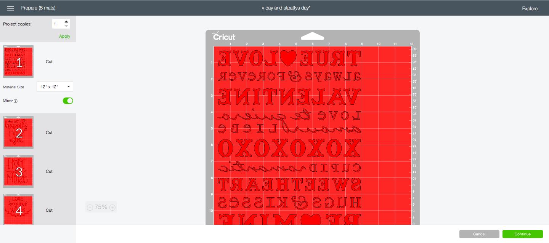 screenshot of cutting mats in design space before cut