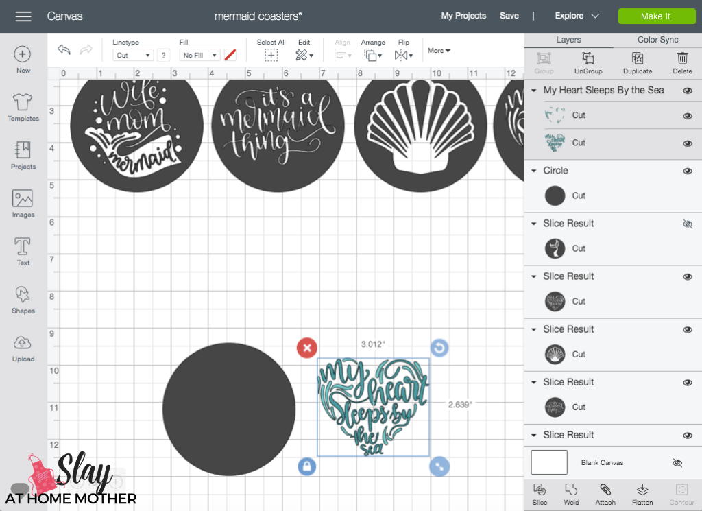 screenshot of design space creating sliced images for coasters