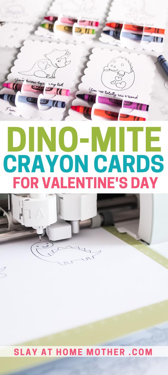 valentine's day dinosaur crayon cards