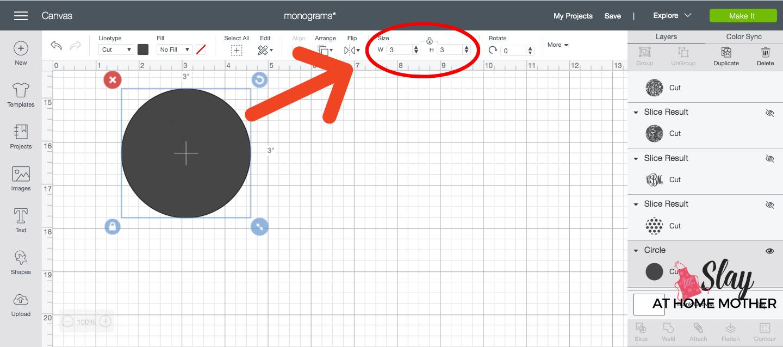 adjusting size of shapes in design space screenshot