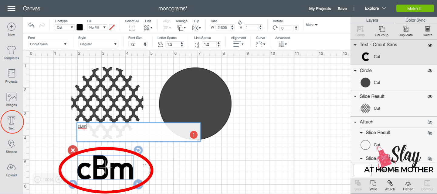 creating a monogram in design space screenshot text