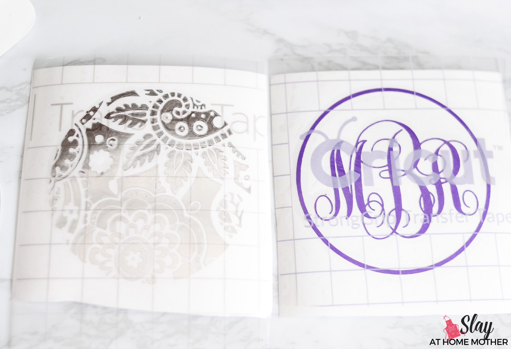 diy monogram decals on transfer tape
