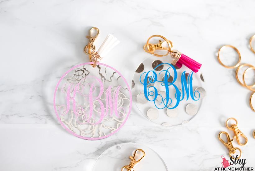 glitter monogram keychains with gold hardware