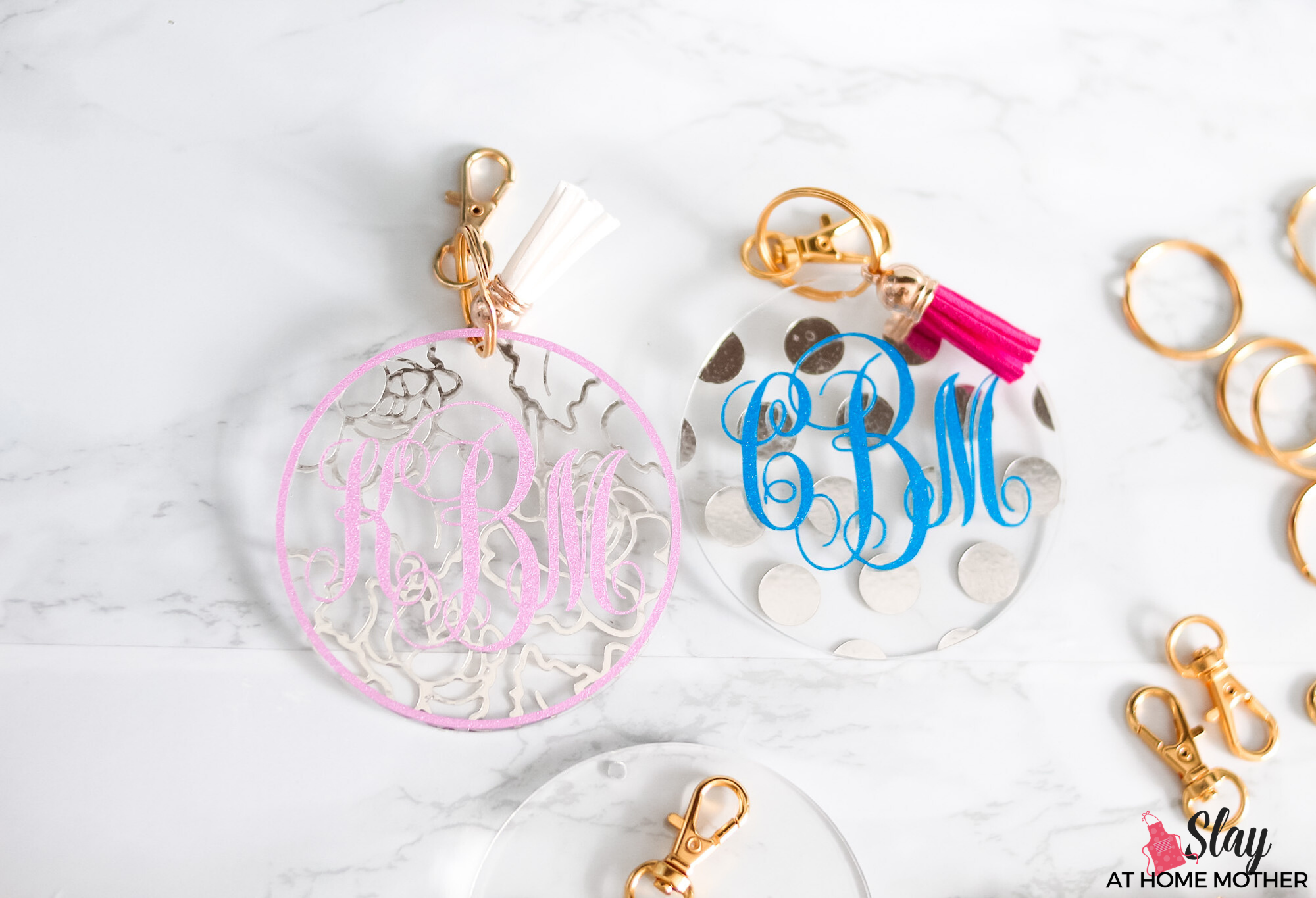 glitter monogram keychains with gold hardware
