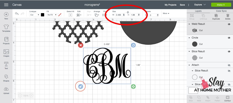 resize monogram decal in design space screenshot