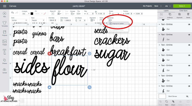 ungroup to letters cricut design space