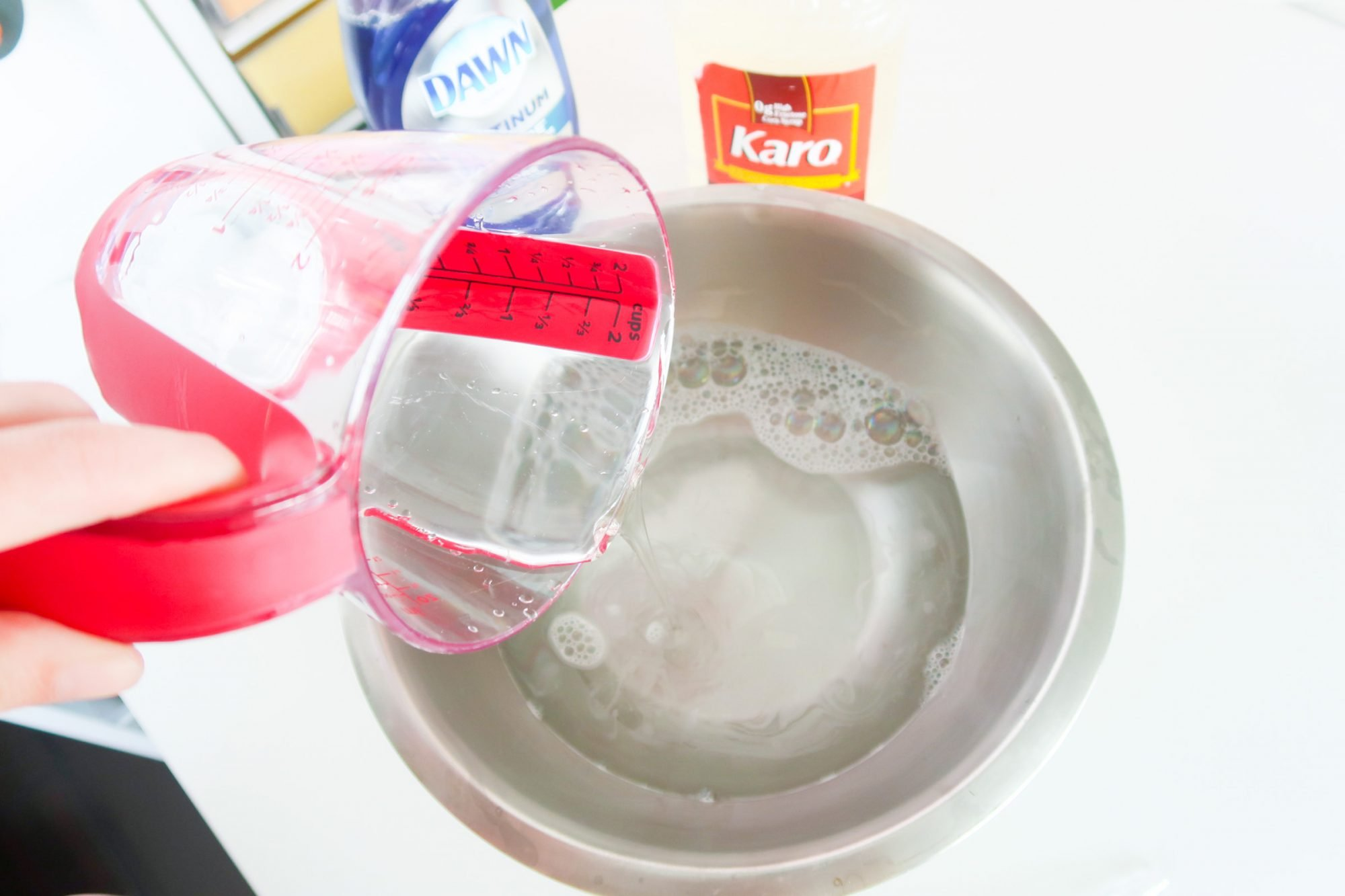 water in mixing bowl