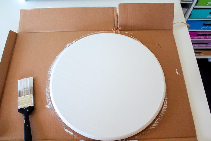 painted white round sign