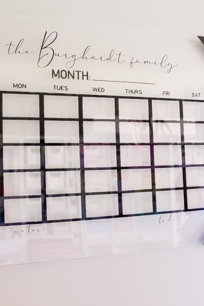 finished acrylic wall calendar