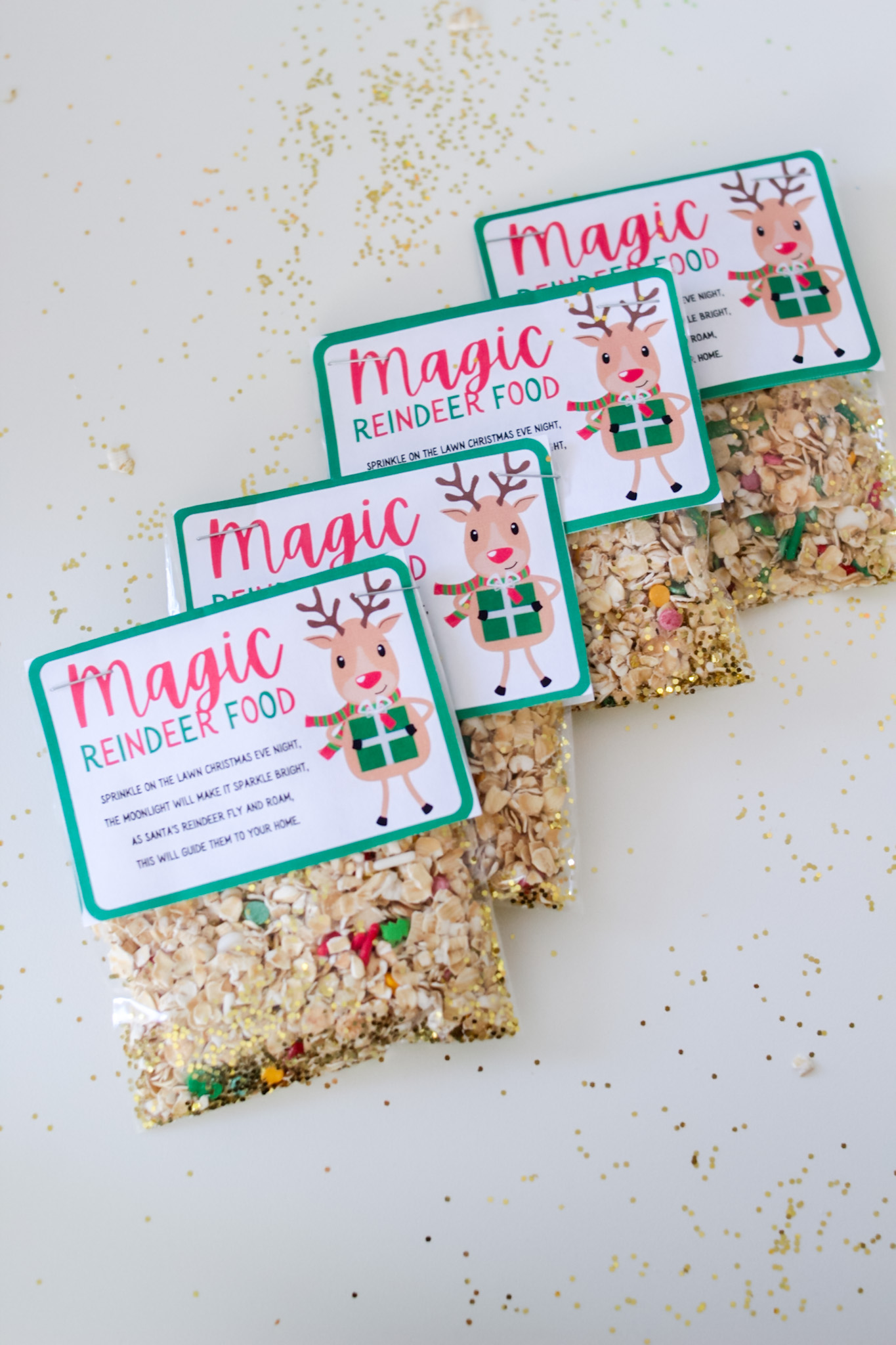 reindeer food recipe and poem finished treat bags