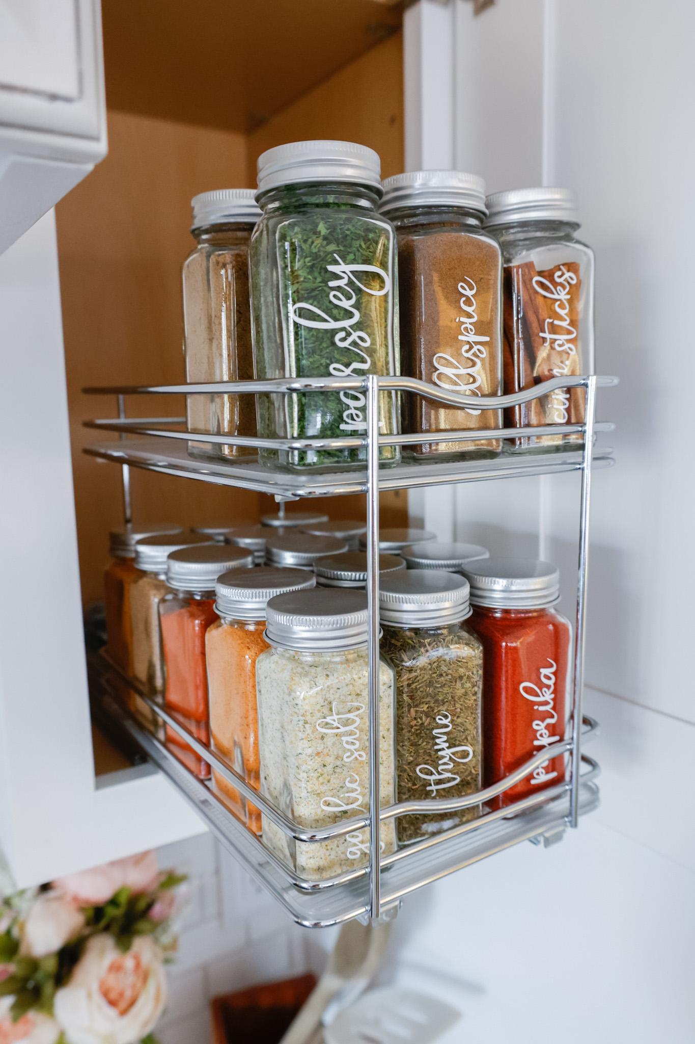 cabinet organization ideas for spice jars