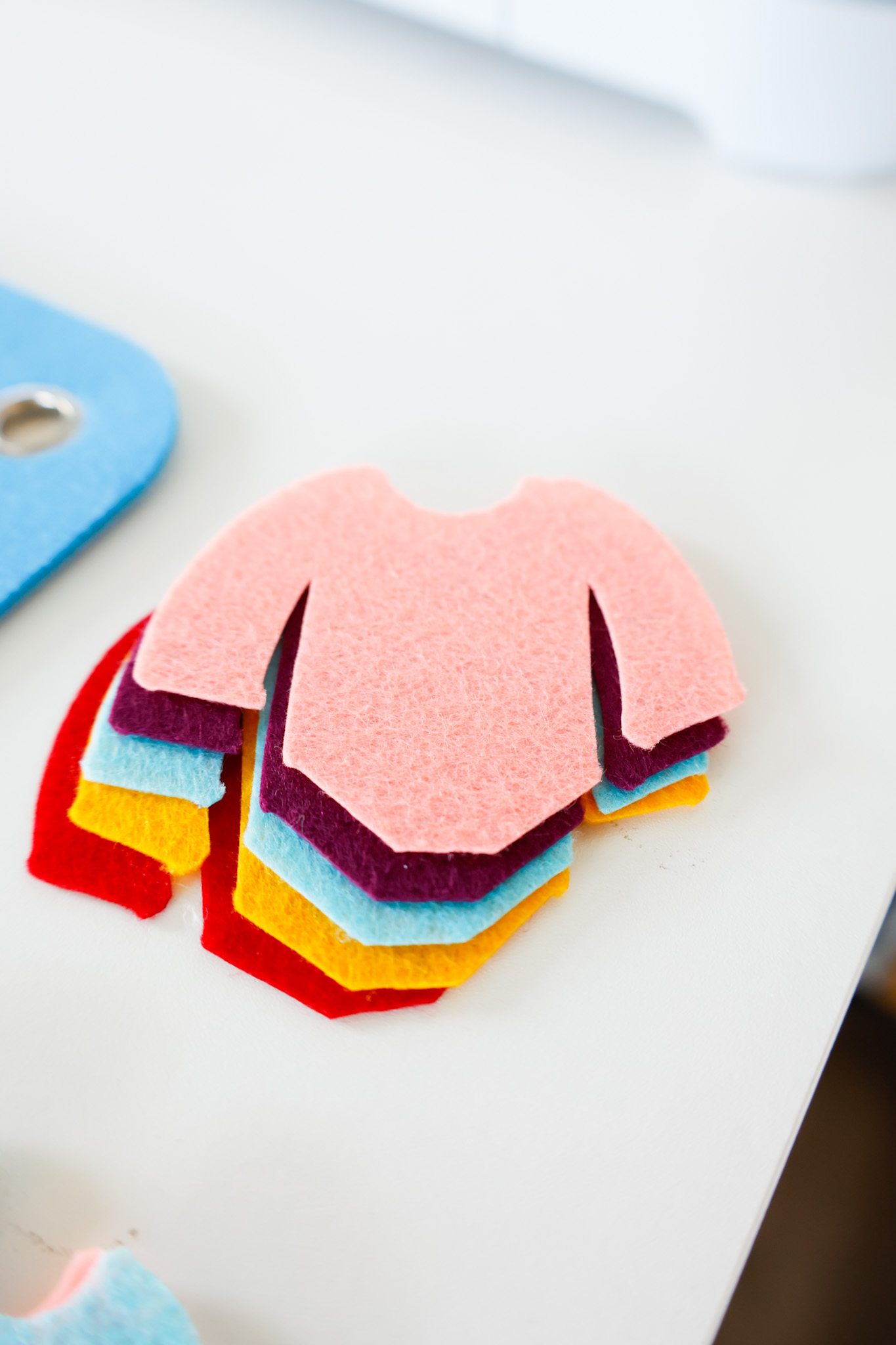 finished cut felt dolls swimsuits in multiple colors